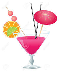 pink martini clip art tropical pink cocktail with small umbrella on white background