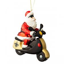 orleans saints santa gets there on a scooter ornament
