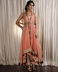 couture salwar suits p peach flared jacket suit p