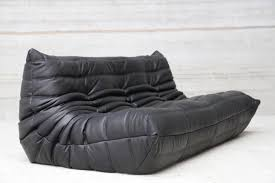black leather sofa vintage three seater togo black leather sofa by