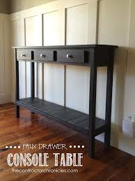 Build A Desk With Drawers Faux Drawer Farmhouse Console Table Spencer And Amanda Jones Of