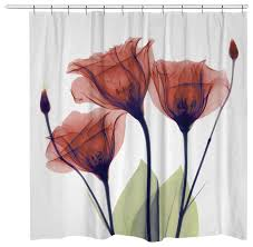 Shower Curtains With Red Gentian Shower Curtain Contemporary Shower Curtains By