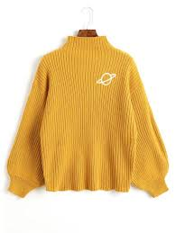yellow sweater mock neck planet embroidered sweater mustard sweaters one size