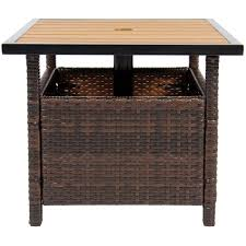 Patio High Top Table Patio Umbrella Stand Wicker Rattan Outdoor Furniture Garden Deck