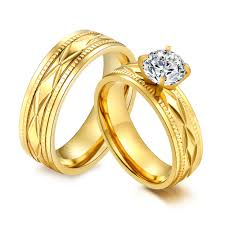 wholesale gold rings images Wholesale stainless steel gold ip matching wedding bands jc jpg