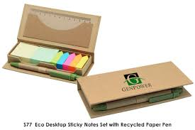 s77 eco desktop sticky notes set with recycled paper pen