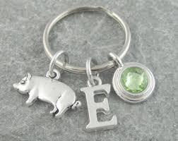 personalized birthstone keychains pig keyring etsy