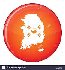 Korea Flag Icon South Korea Map With Flag Icon Flat Style Stock Vector Art