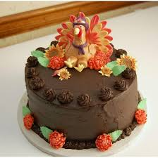 chocolate cake with fondant turkey thanksgiving
