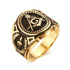 design rings images Gold color freemason ring stainless steel with classic center jpg