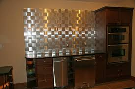 simple kitchen ideas with silver metallic glass peel stick wall