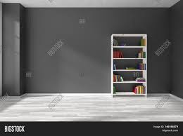 empty room with black wall white parquet floor and white bookshelf