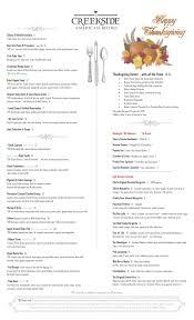 thanksgiving menu creekside american bistro