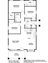 Simple House Plan With 3 Bedrooms Interior Design Rectangular House Plans 3 Bedroom 2 Bath