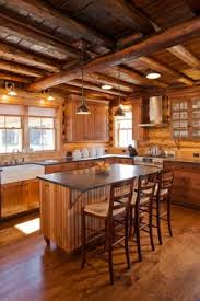 Log Homes Interior Designs Cozy Cabin Kitchen Love The Gray Cabinets Against All The Wood