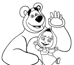 masha bear coloring pages