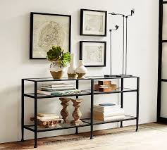 Wall Console Table Tanner Long Console Table Bronze Finish Pottery Barn