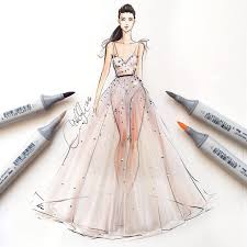 lovely fashion illustration with copic markers fashion sketch