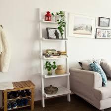 Wooden Ladder Bookcase by Sobuy White Modern 5 Tiers Wood Ladder Shelf Storage Display
