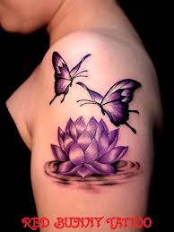 lotus flower and butterfly tattoos 東京のtattoo studio red