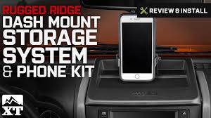 jeep wrangler rugged ridge dash mount storage system u0026 phone kit
