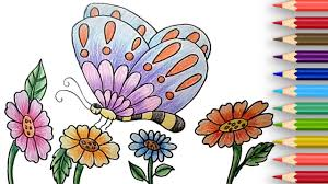how to draw a butterfly and flowers easy by for beginners