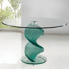 twirl dining table round contemporary design clear smoked
