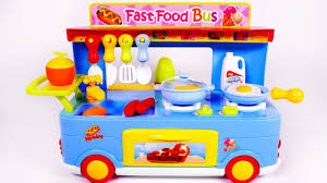Toy Kitchen Set For Boys Fast Food Truck For Kids Cooking Kitchen Toy Playset For Kids