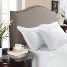 oatmeal full queen upholstered linen fabric bed headboard nailhead