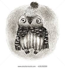 sketch owl drawn pen ink graphic stock vector 222366565 shutterstock