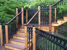 Iron Handrail For Stairs Fortress Railing Designs U0026 Post Caps Base Covers U0026 Led Lighting
