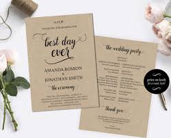 cheap wedding ceremony programs printable wedding program template diy wedding program