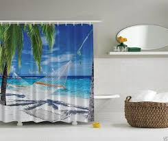 Tropical Beach Shower Curtains by Beach Hammock Fabric Shower Curtain Tropical Ocean Palm Trees