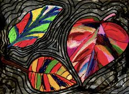 martini glass acrylic painting group work mixed media leaves