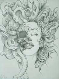 half dead medusa by yourcharmingfate on deviantart