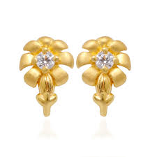 gold studs kids collection gold flower stud earrings grt jewellers