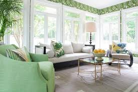 Sunroom Sofas Green Sunroom With Vintage Gold Cocktail Table Transitional