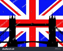 London Flag Tower Bridge London Against British Flag Stock Vector 4382677