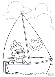 baby miss piggy on a boat coloring page free printable coloring