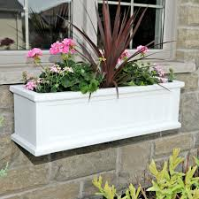 White Wall Planter by Mayne 11 In X 36 In White Cape Cod Window Box 4840 W The Home