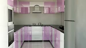 best modular kitchen with u shape features white purple colors