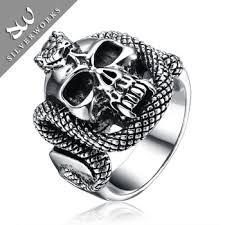 cool skull rings images Latest cool thai silver skull and snake rings for men buy men 39 s jpg