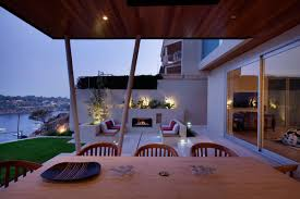 outdoor fireplace living space stunning riverside home in perth