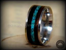 wooden metal rings images Bentwood ring turquoise inlay on surgical grade stainless steel jpg