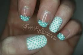 nails by adrienne mint and white polka dot nail tutorial