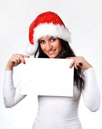 beautiful in a santa claus hat with a clean sheet of paper
