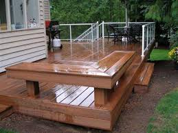 Firepit Bench by Wooden Deck With Built In Deck And Fire Pit Deck Benches For