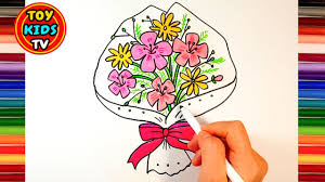 how to draw flower bouquet learn color painting for kids youtube