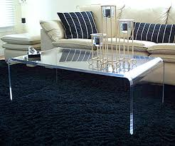 Coffee Table Rounded Edges Clear Acrylic Coffee Table With Narrow Design And Curve