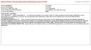 production machine shop supervisor cover letter